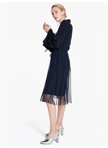 Kuş Gözü Üzeri İp Geçişli Tül Mixli Elbise-Twist